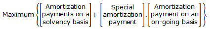 Maximum between the Amortization payments on a solvency basis added to the Special amortization payment and the Amortization payment on an on-going basis