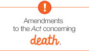 Amendments to the Act concerning death